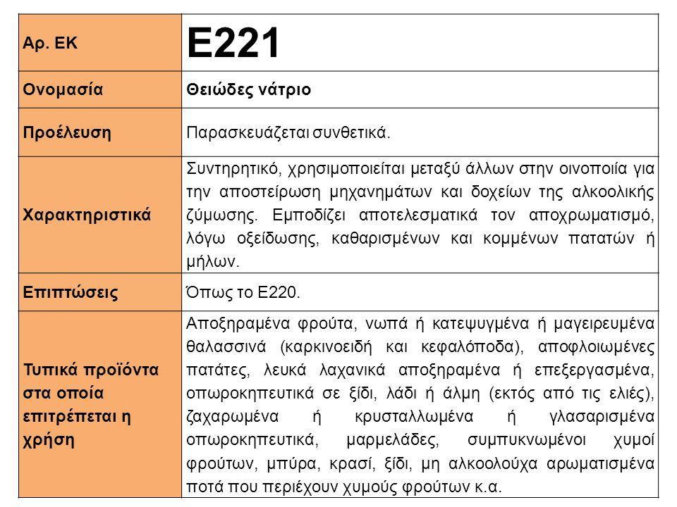 Ε221 Αρ. ΕΚ Ονομασία Θειώδες νάτριο Προέλευση