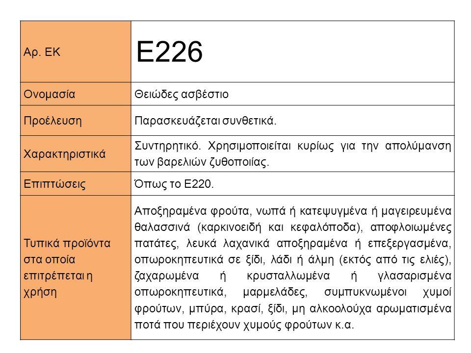 Ε226 Αρ. ΕΚ Ονομασία Θειώδες ασβέστιο Προέλευση