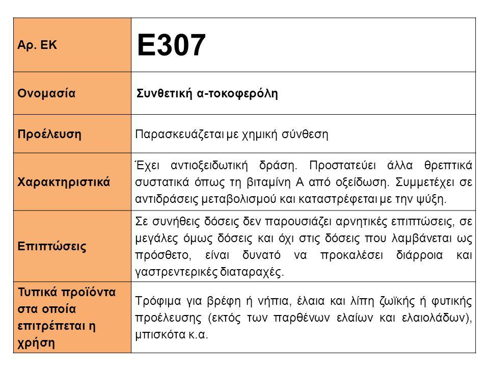 Ε307 Αρ. ΕΚ Ονομασία Συνθετική α-τοκοφερόλη Προέλευση