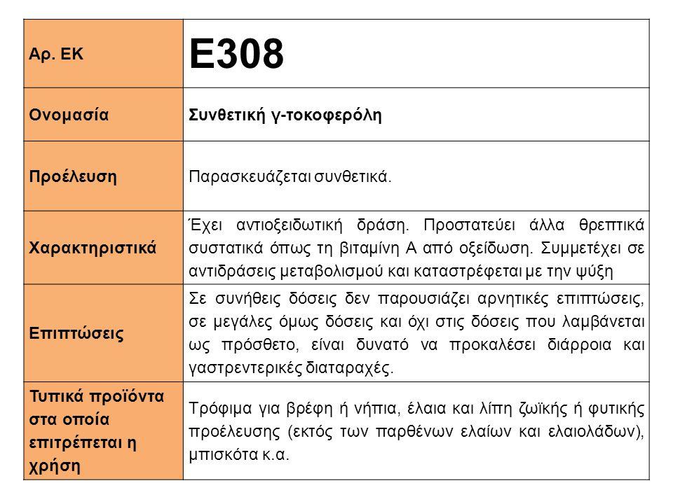 Ε308 Αρ. ΕΚ Ονομασία Συνθετική γ-τοκοφερόλη Προέλευση