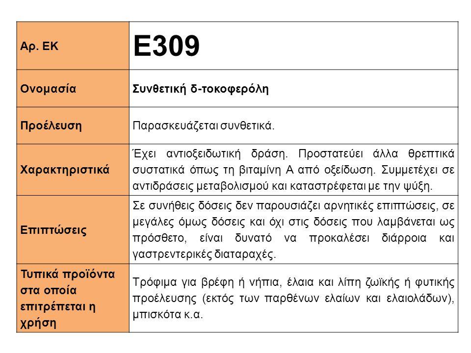 Ε309 Αρ. ΕΚ Ονομασία Συνθετική δ-τοκοφερόλη Προέλευση