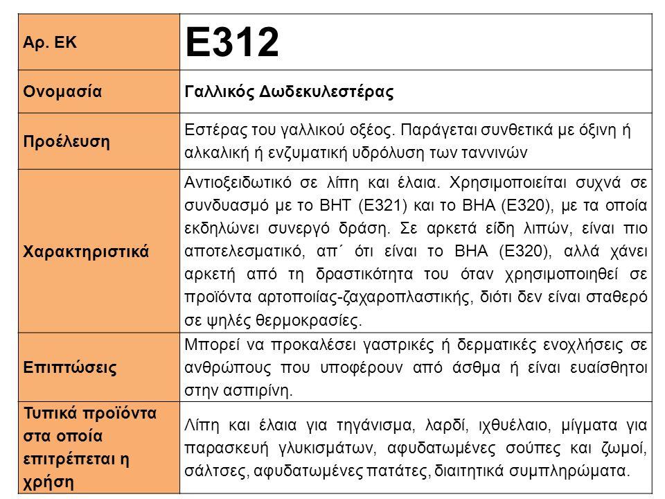 Ε312 Αρ. ΕΚ Ονομασία Γαλλικός Δωδεκυλεστέρας Προέλευση