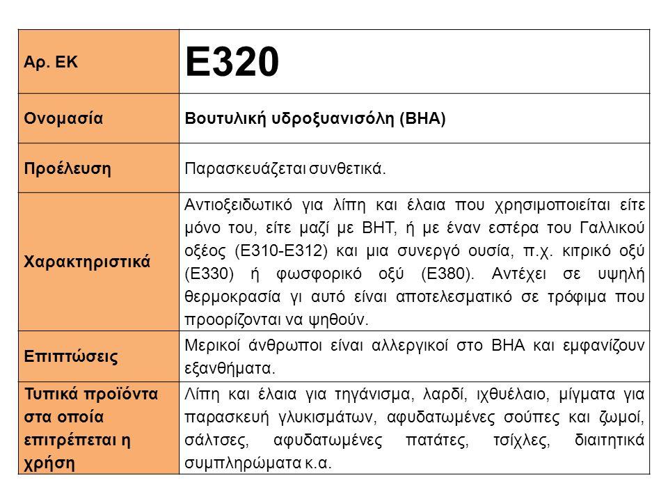 Ε320 Αρ. ΕΚ Ονομασία Βουτυλική υδροξυανισόλη (BHA) Προέλευση