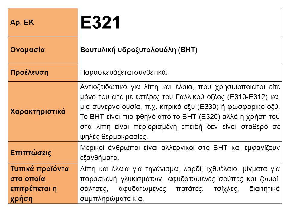 Ε321 Αρ. ΕΚ Ονομασία Βουτυλική υδροξυτολουόλη (BHΤ) Προέλευση