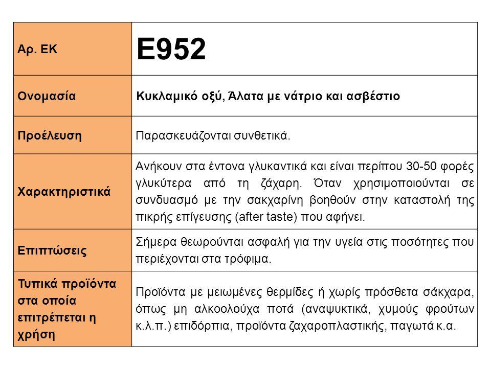 Ε952 Αρ. ΕΚ Ονομασία Κυκλαμικό οξύ, Άλατα με νάτριο και ασβέστιο