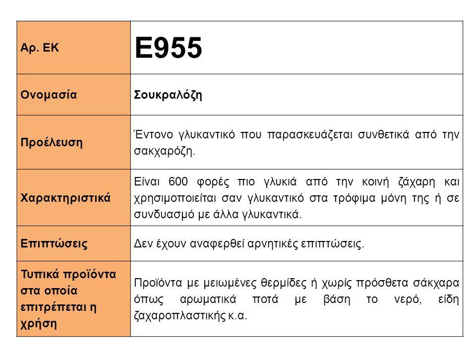 Ε955 Αρ. ΕΚ Ονομασία Σουκραλόζη Προέλευση