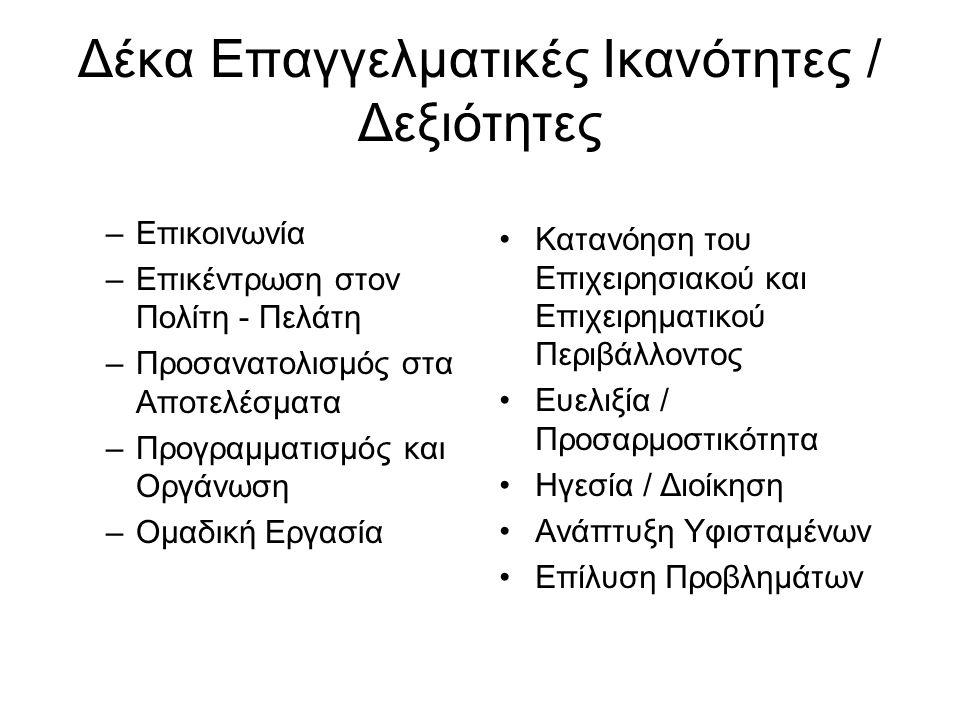 Δέκα Επαγγελματικές Ικανότητες / Δεξιότητες