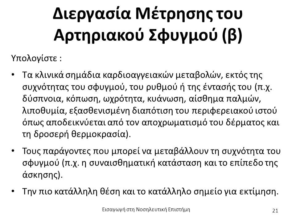 Διεργασία Μέτρησης του Αρτηριακού Σφυγμού (β)