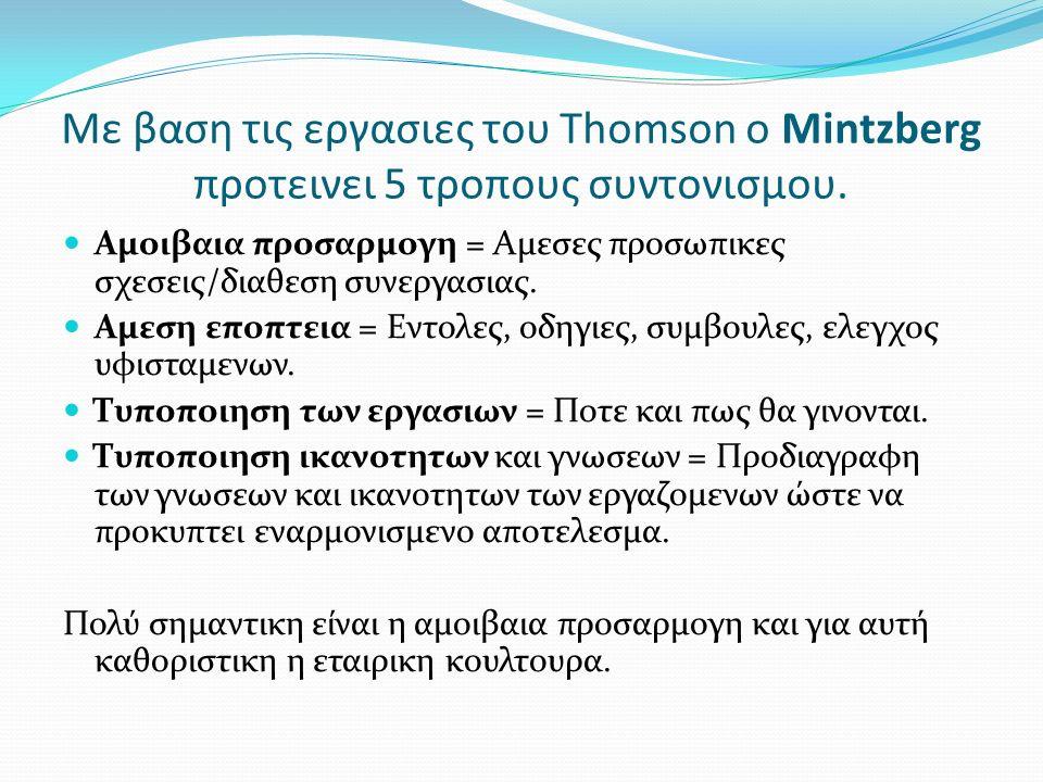 Με βαση τις εργασιες του Thomson o Mintzberg προτεινει 5 τροπους συντονισμου.