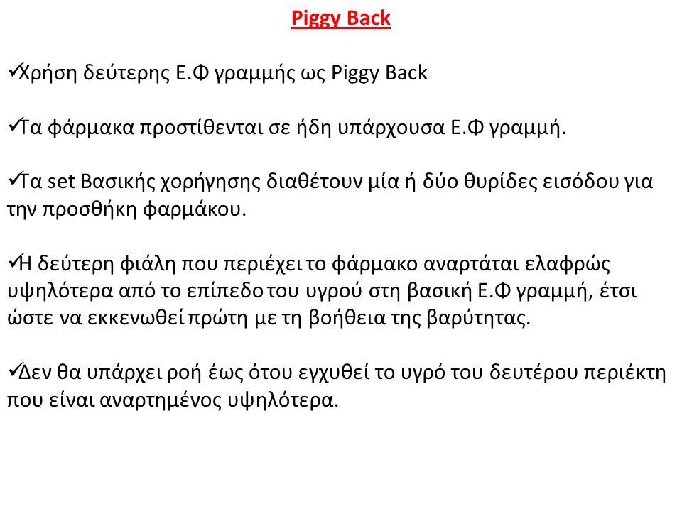 Piggy Back Χρήση δεύτερης Ε.Φ γραμμής ως Piggy Back. Τα φάρμακα προστίθενται σε ήδη υπάρχουσα Ε.Φ γραμμή.