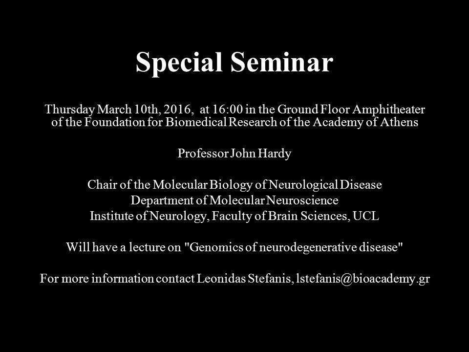 Special Seminar