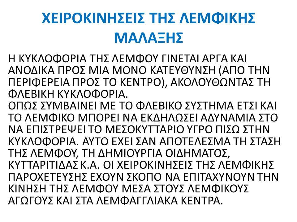 ΧΕΙΡΟΚΙΝΗΣΕΙΣ ΤΗΣ ΛΕΜΦΙΚΗΣ ΜΑΛΑΞΗΣ