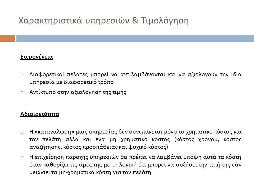 Χαρακτηριστικά υπηρεσιών & Τιμολόγηση