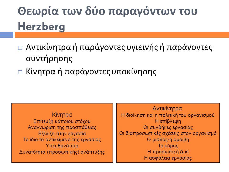 Θεωρία των δύο παραγόντων του Herzberg