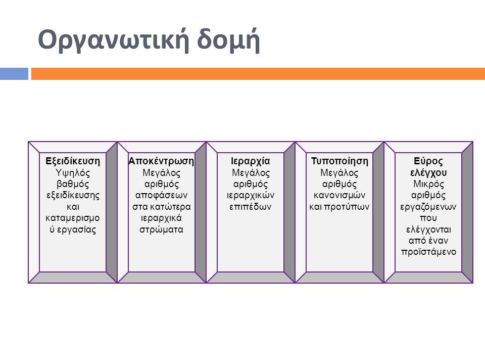 Οργανωτική δομή Εξειδίκευση