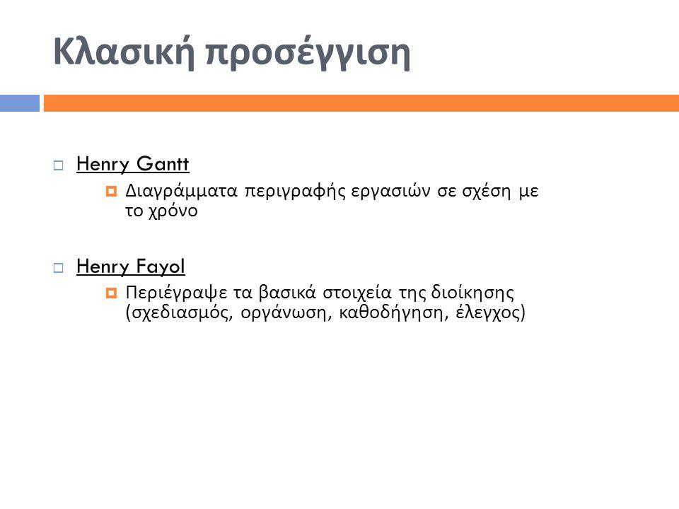 Κλασική προσέγγιση Henry Gantt Henry Fayol