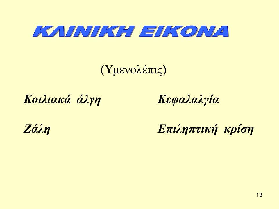 ΚΛΙΝΙΚΗ ΕΙΚΟΝΑ (Υμενολέπις) Κοιλιακά άλγη Ζάλη Κεφαλαλγία