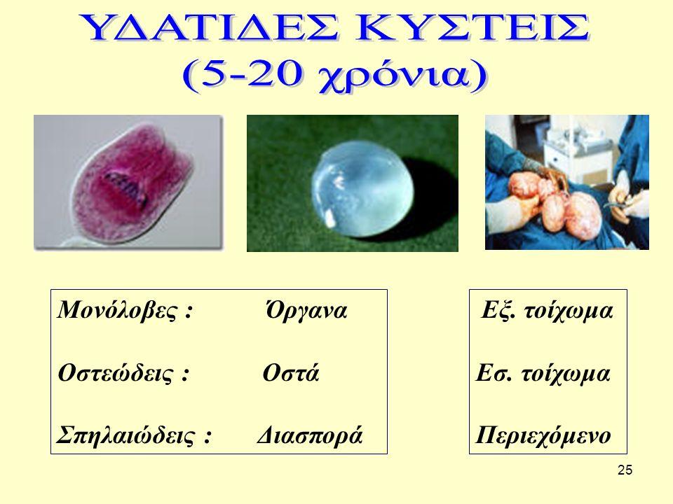 ΥΔΑΤΙΔΕΣ ΚΥΣΤΕΙΣ (5-20 χρόνια) Μονόλοβες : Όργανα Οστεώδεις : Οστά