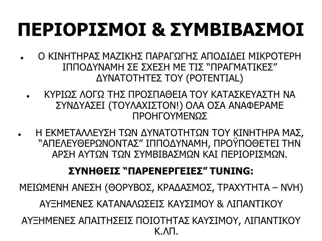 ΠΕΡΙΟΡΙΣΜΟΙ & ΣΥΜΒΙΒΑΣΜΟΙ
