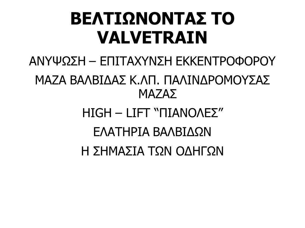BEΛΤΙΩΝΟΝΤΑΣ ΤΟ VALVETRAIN