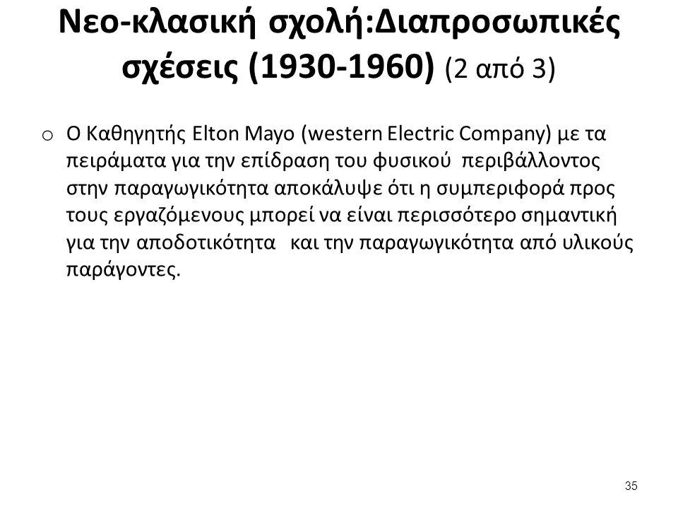 Nεο-κλασική σχολή:Διαπροσωπικές σχέσεις (1930-1960) (3 από 3)