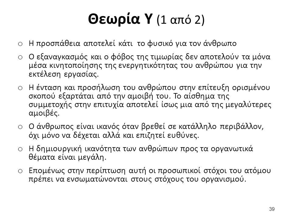 Θεωρία Υ (2 από 2) Η θεωρία Υ οδήγησε τη δεκαετία του 1960 σε: