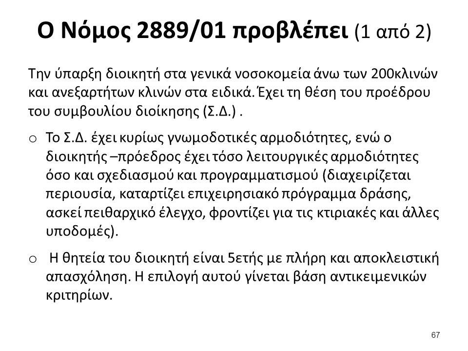 Ο Νόμος 2889/01 προβλέπει (2 από 2)