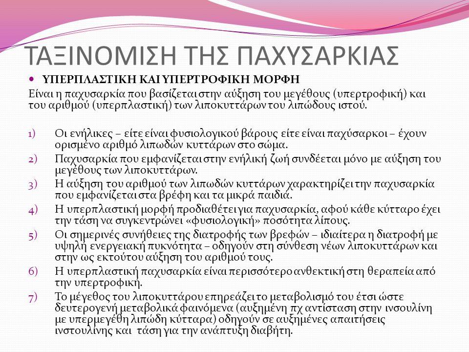 ΤΑΞΙΝΟΜΙΣΗ ΤΗΣ ΠΑΧΥΣΑΡΚΙΑΣ