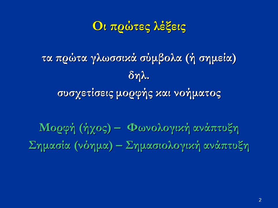 Οι πρώτες λέξεις τα πρώτα γλωσσικά σύμβολα (ή σημεία) δηλ.