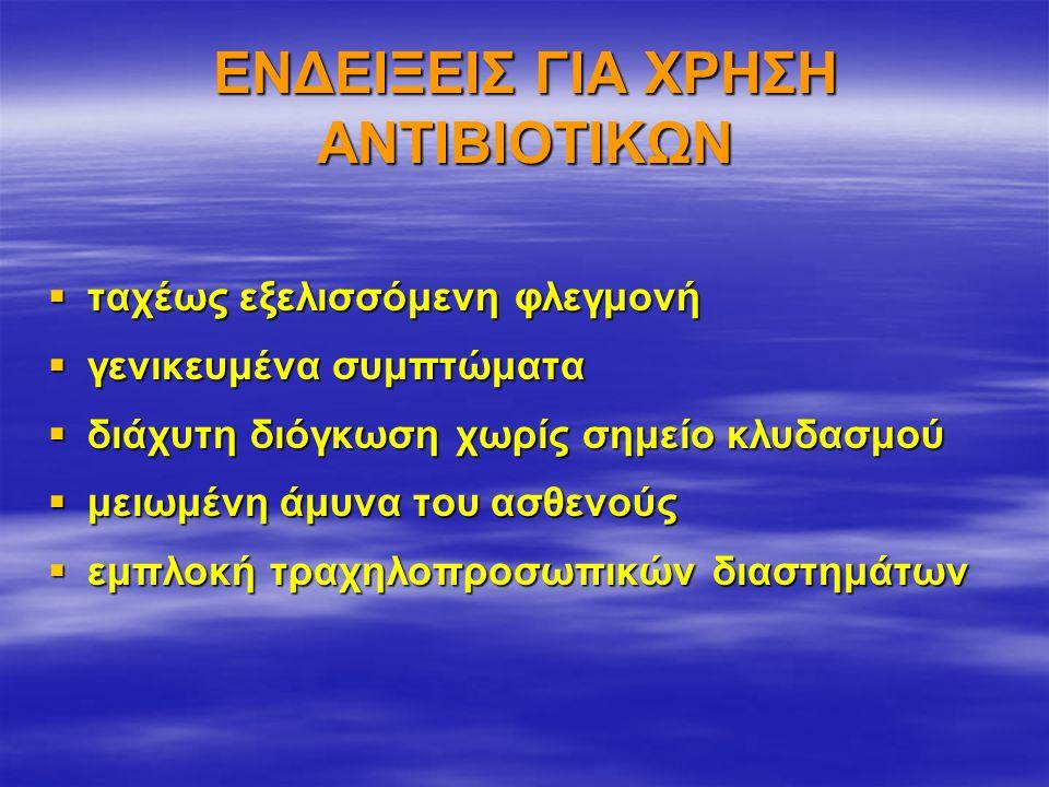 ΕΝΔΕΙΞΕΙΣ ΓΙΑ ΧΡΗΣΗ ΑΝΤΙΒΙΟΤΙΚΩΝ