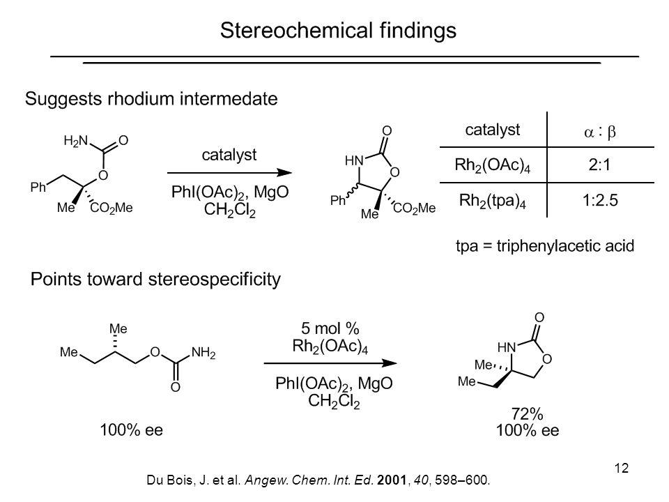 Du Bois, J. et al. Angew. Chem. Int. Ed. 2001, 40, 598–600.