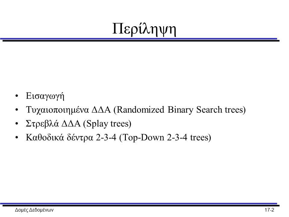 Περίληψη Εισαγωγή Τυχαιοποιημένα ΔΔΑ (Randomized Binary Search trees)