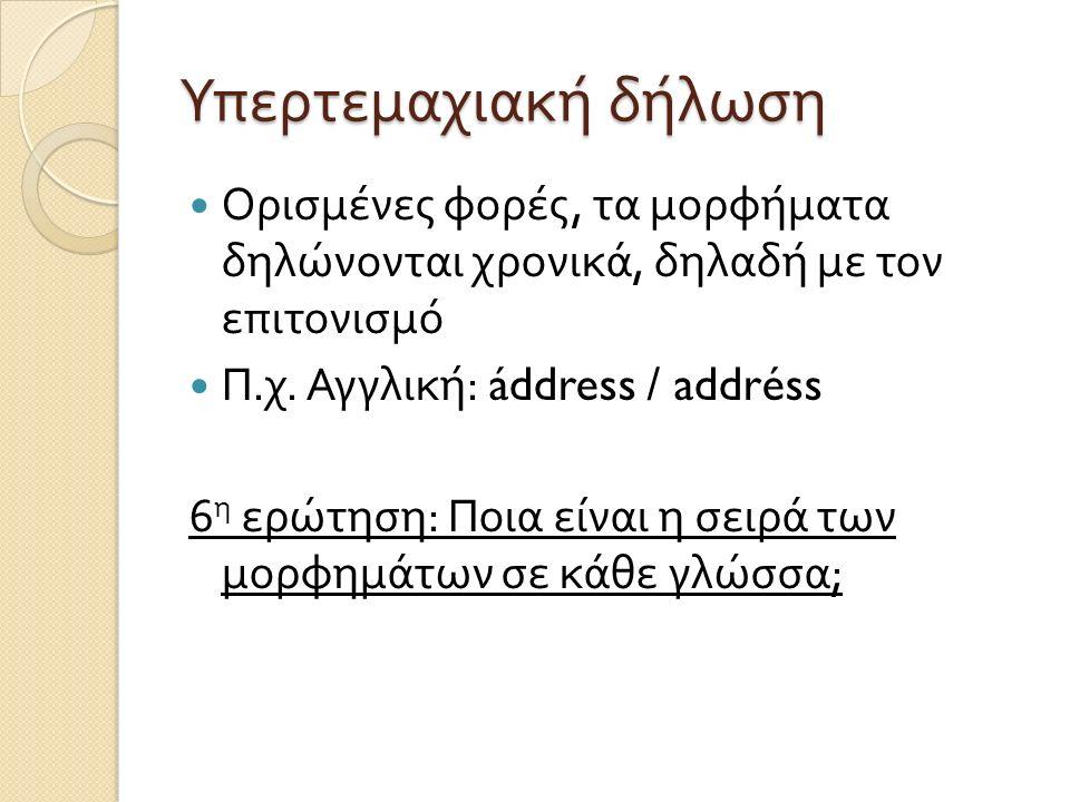 Υπερτεμαχιακή δήλωση Ορισμένες φορές, τα μορφήματα δηλώνονται χρονικά, δηλαδή με τον επιτονισμό. Π.χ. Αγγλική: áddress / addréss.