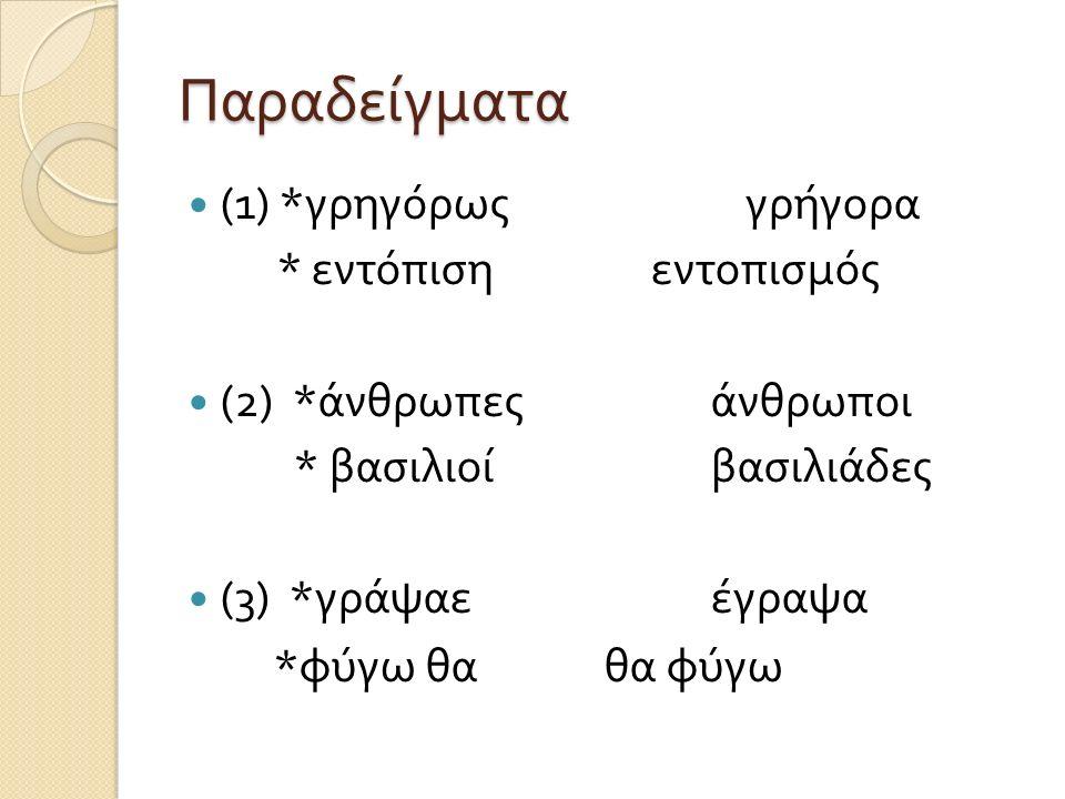 Παραδείγματα (1) *γρηγόρως γρήγορα * εντόπιση εντοπισμός