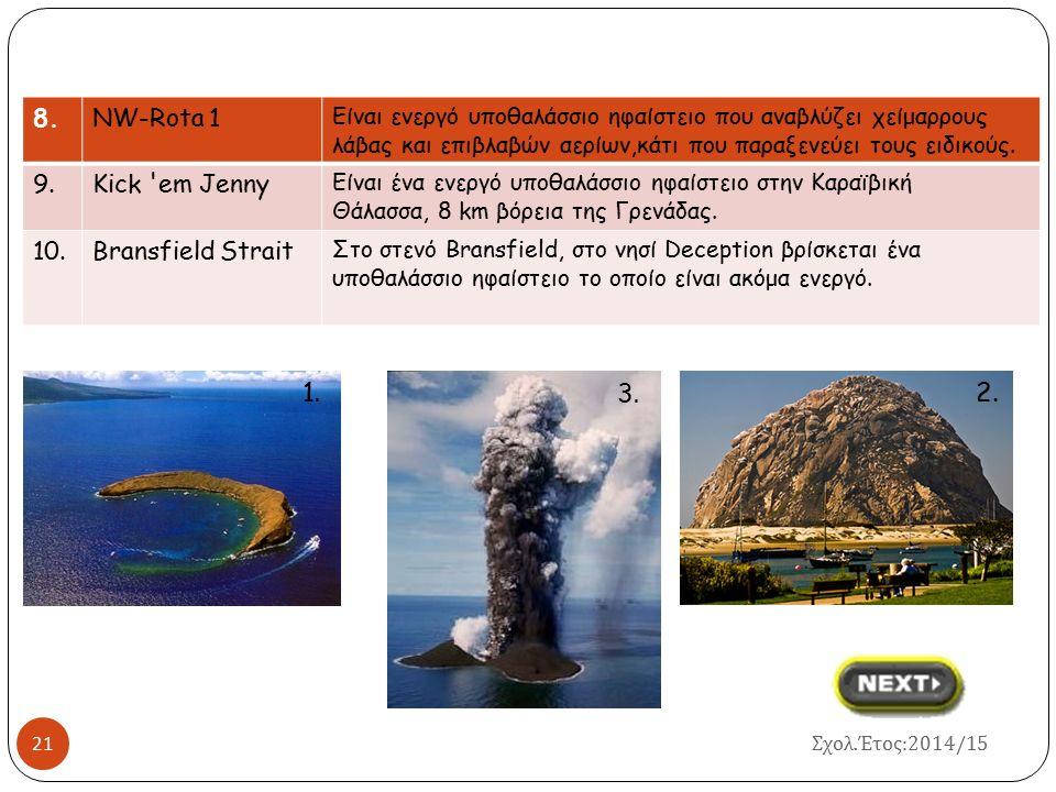 1. 3. 7. 2. 8. NW-Rota 1 9. Kick em Jenny 10. Bransfield Strait