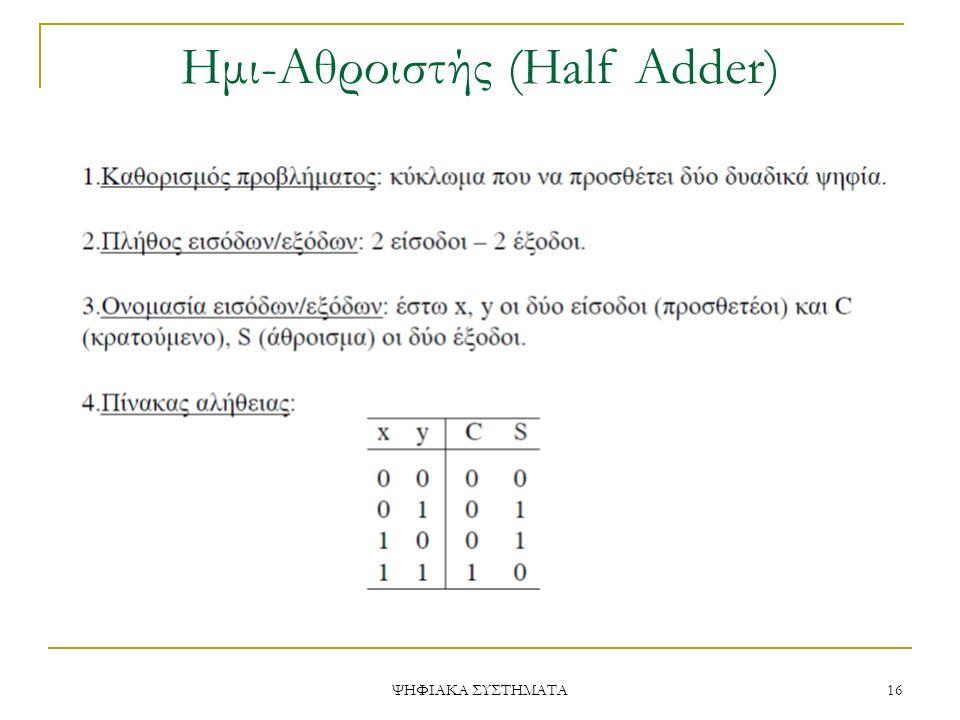 Ημι-Aθροιστής (Half Adder)