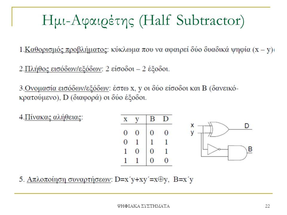 Ημι-Aφαιρέτης (Half Subtractor)
