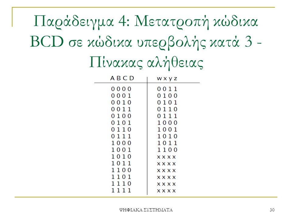 Παράδειγμα 4: Μετατροπή κώδικα BCD σε κώδικα υπερβολής κατά 3 - Πίνακας αλήθειας
