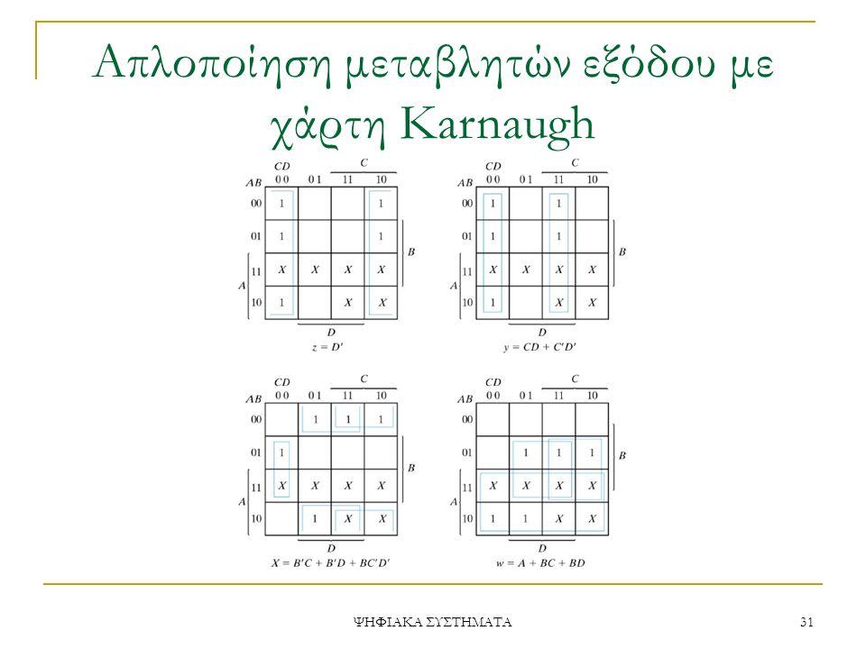 Απλοποίηση μεταβλητών εξόδου με χάρτη Karnaugh