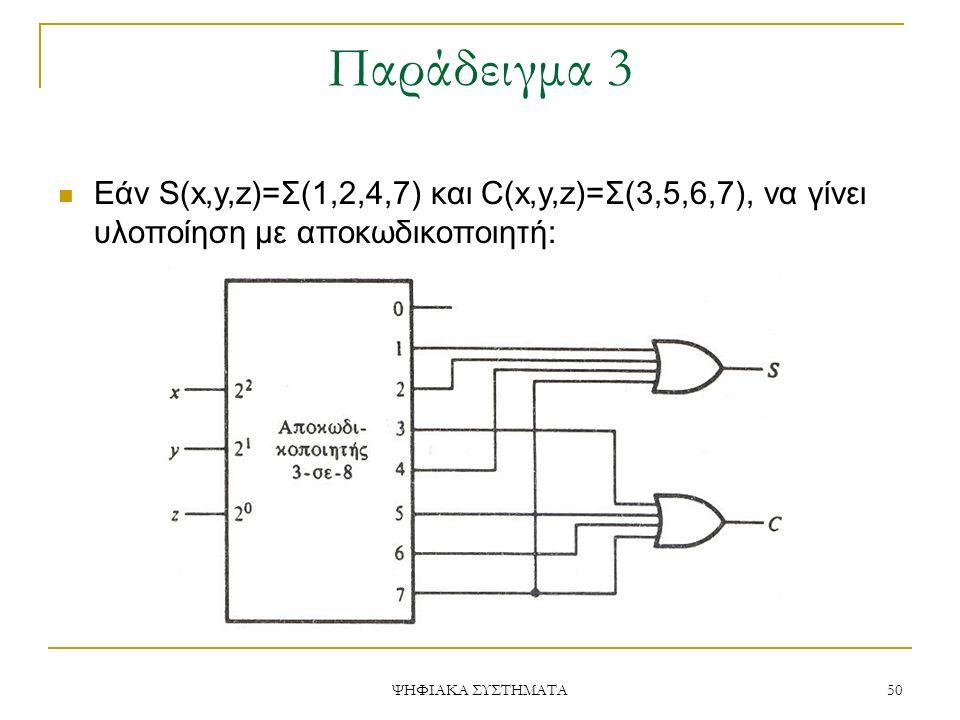 Παράδειγμα 3 Εάν S(x,y,z)=Σ(1,2,4,7) και C(x,y,z)=Σ(3,5,6,7), να γίνει υλοποίηση με αποκωδικοποιητή: