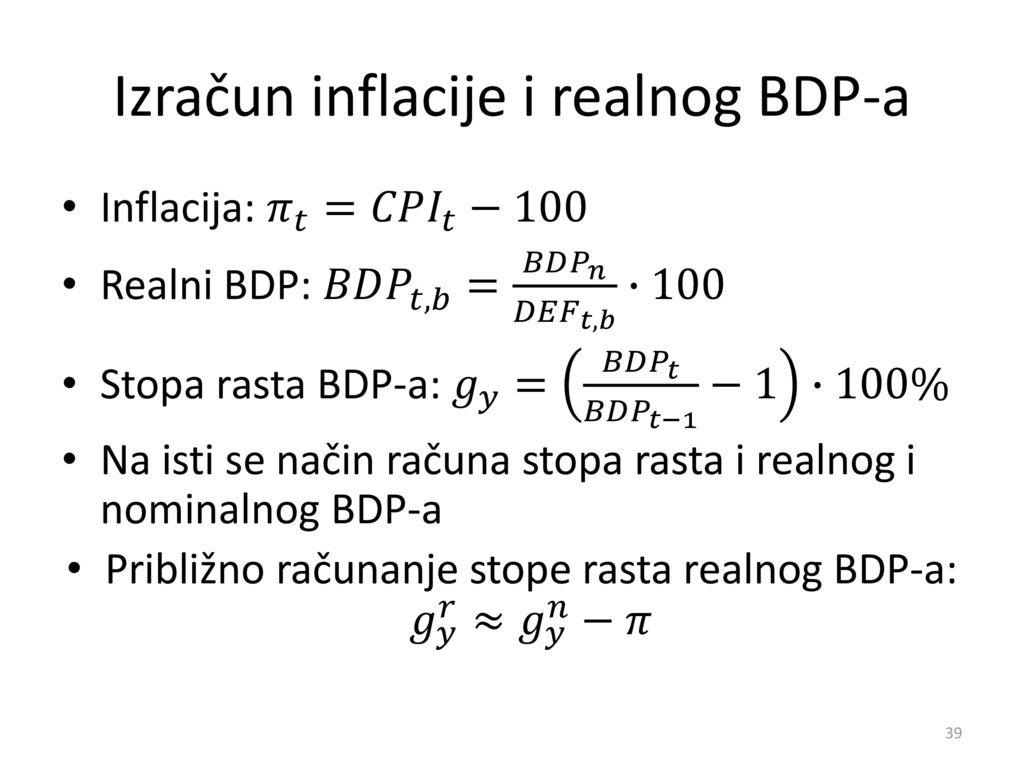 Izračun inflacije i realnog BDP-a