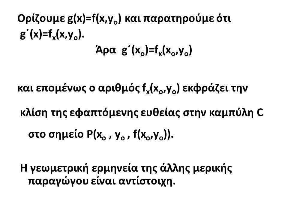 Ορίζουμε g(x)=f(x,yo) και παρατηρούμε ότι g΄(x)=fx(x,yo)
