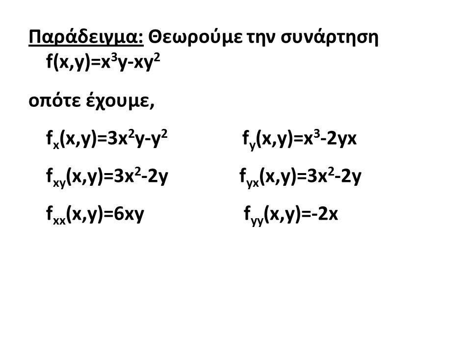 Παράδειγμα: Θεωρούμε την συνάρτηση f(x,y)=x3y-xy2 οπότε έχουμε, fx(x,y)=3x2y-y2 fy(x,y)=x3-2yx fxy(x,y)=3x2-2y fyx(x,y)=3x2-2y fxx(x,y)=6xy fyy(x,y)=-2x