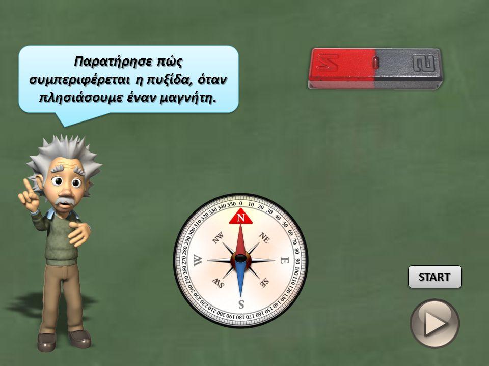 Παρατήρησε πώς συμπεριφέρεται η πυξίδα, όταν πλησιάσουμε έναν μαγνήτη.