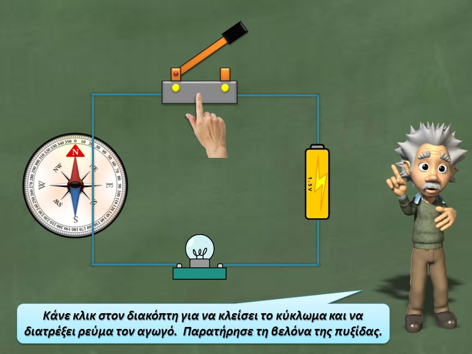 Κάνε κλικ στον διακόπτη για να κλείσει το κύκλωμα και να διατρέξει ρεύμα τον αγωγό.