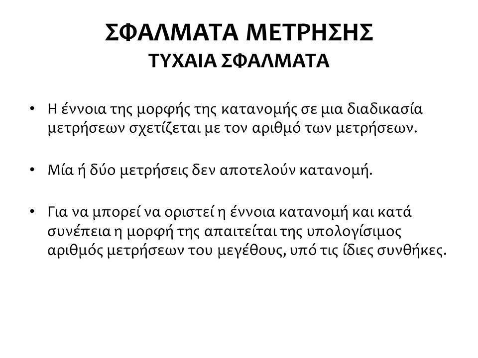ΣΦΑΛΜΑΤΑ ΜΕΤΡΗΣΗΣ ΤΥΧΑΙΑ ΣΦΑΛΜΑΤΑ