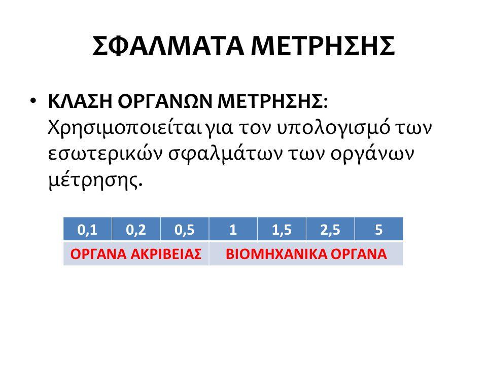 ΣΦΑΛΜΑΤΑ ΜΕΤΡΗΣΗΣ ΚΛΑΣΗ ΟΡΓΑΝΩΝ ΜΕΤΡΗΣΗΣ: Χρησιμοποιείται για τον υπολογισμό των εσωτερικών σφαλμάτων των οργάνων μέτρησης.