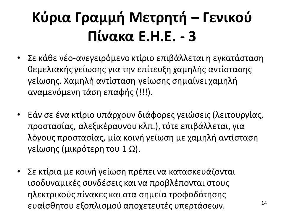 Κύρια Γραμμή Μετρητή – Γενικού Πίνακα Ε.Η.Ε. - 3