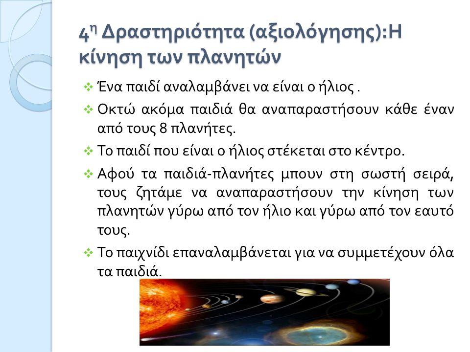 4η Δραστηριότητα (αξιολόγησης):Η κίνηση των πλανητών
