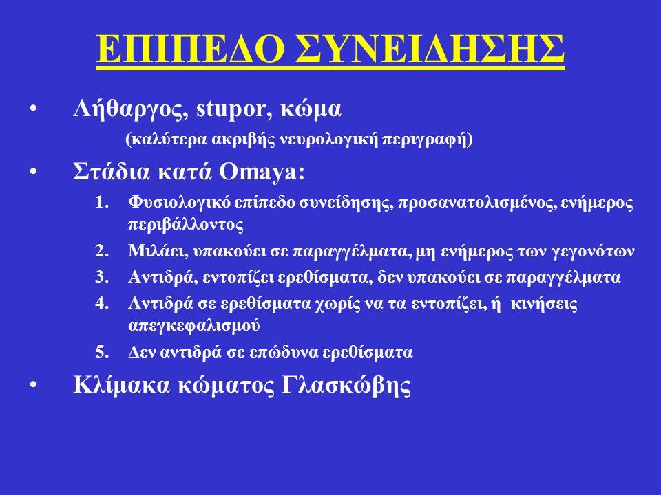 ΕΠΙΠΕΔΟ ΣΥΝΕΙΔΗΣΗΣ Λήθαργος, stupor, κώμα Στάδια κατά Omaya: